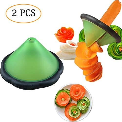 2 PCS Creative Slicers for Fruits Vegetables Salad Cut to Flower-Shape,Carrot Cucumber Melon Peeler and Sharpener Mold, Peel Shredder Stainless Steel Blade Spiral Cutter
