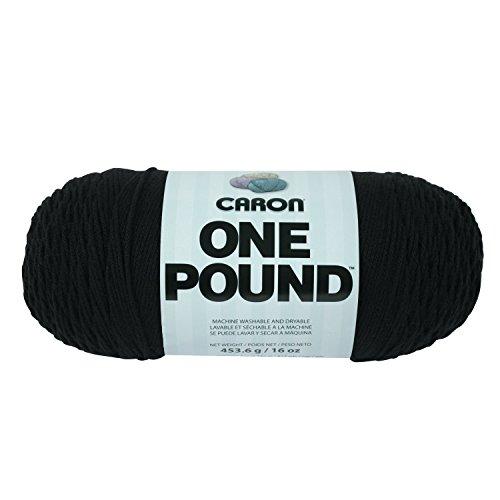 Caron  One Pound Solids Yarn - (4) Medium Gauge 100% Acrylic - 16 oz -  Black- For Crochet, Knitting & Crafting
