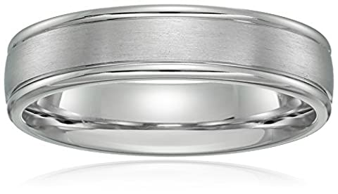 14k White Gold 6mm Comfort-Fit Wedding Band with Satin Center and High Polish Round Edges, Size 11 (6 Mm White Gold Band)