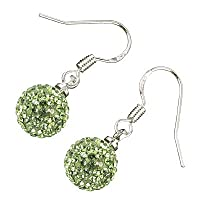 Sterling Silver Plated, 10MM Various Colors AB Clay Crystal Shamballa Balls, Dangle Drop Earrings, 26mm X 10mm