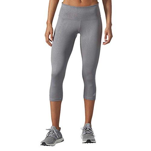 adidas Ladies' Ultimate Mid-Rise 3/4 Embossed Tight (Large, Grey)