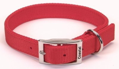 Coastal Pet Double-Ply Nylon Dog Collar (Red, 18 Inch L x 1 Inch -