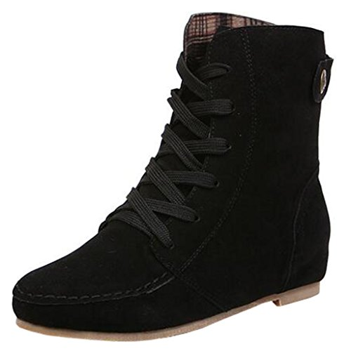 Binying Women's Buckle Round-Toe Flat Lace-up Ankle Boots Black