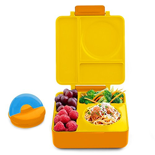 OmieBox Bento Box with Thermos Kids | Insulated and Leak Proof Bento Box for Kids, 3 Compartments, Two Temperature Zones for Hot & Cold Food - (Sunshine) (Single) (Best Bento Lunch Box For Kids)