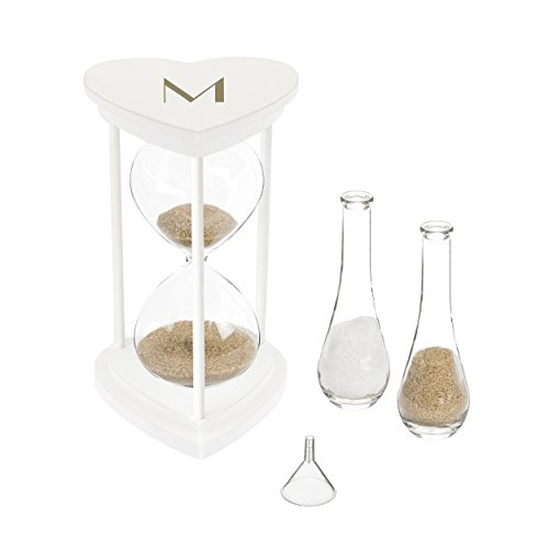Cathy's Concepts G3967W-7-M Personalized Gold Ceremony Hourglass Set Unity Sand, One Size, White with Gold - Sand Gold White