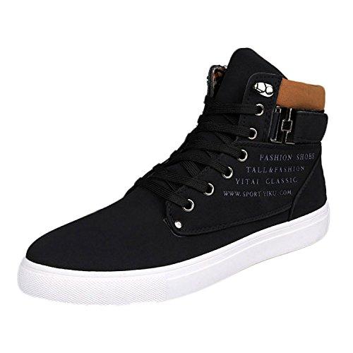 Oasap Herren High Top Schnürsenkel Schnalle Sneakers Black