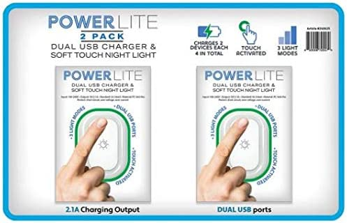 2 pk. PowerLite Nightlight with Dual USB Charger
