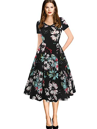 - oxiuly Women's Vintage Plaid Stripe V-Neck Casual Pockets Party Swing Dress OX295 (M, Black Floral)