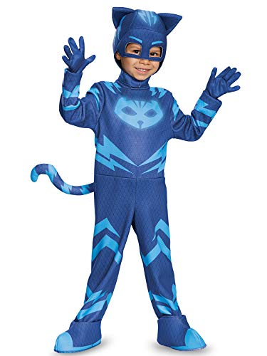 Catboy Deluxe Toddler PJ Masks Costume, Medium/3T-4T ()
