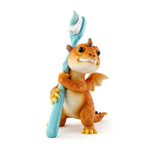 - Top Collection Solar The Red Dragon with Toothbrush - Dentists Stay Away! 3-Inch Cute Magic Dragon Statue, Mini Collectible Fantasy Figurine for Bathroom or Dentist Office