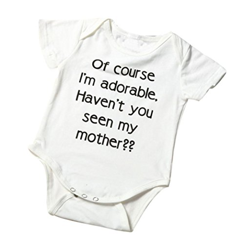 Vicbovo Clearance Sale Baby Infant Boy Girl Cute Letter Print Short Sleeve Romper Bodysuit Outfits Clothes (White, 0-3M)