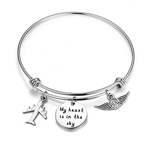 Airplane Bracelet - bobauna My Heart is in The Sky Airplane Bracelet Gift for Pilot Wife Mom (Pilot Bracelet)