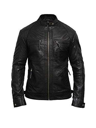 Brandslock Mens Genuine Leather Biker Jacket Lamb Skin (XL, Black)