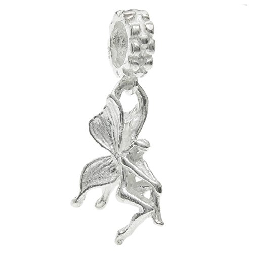 Bright 925 Sterling Silver Butterfly Fairy Angel Dangle Bead For European Charm Bracelets
