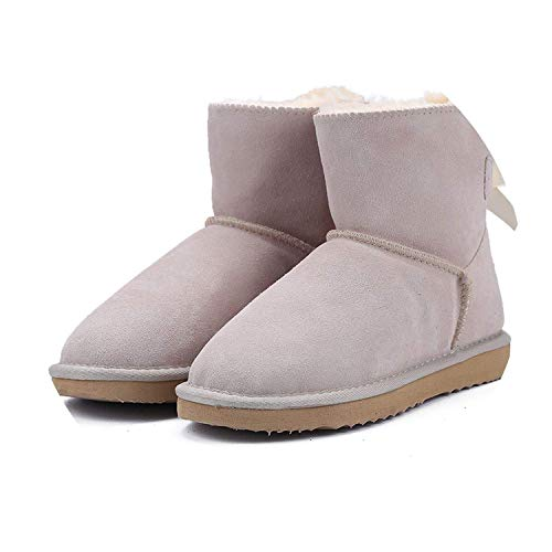 Best Rated for Winter Gift Warm Snow Boots Winter Boots Genuine Cowhide Leather Boots Ankle Boots Fur Shoes Size 34-44,9MUS,Sand