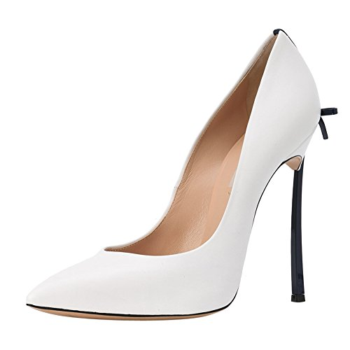 High White With Toe Women's Stiletto Court Bowknot onlymaker Heels Metal black heel Pointed Shoes Sexy 7XA78wq4