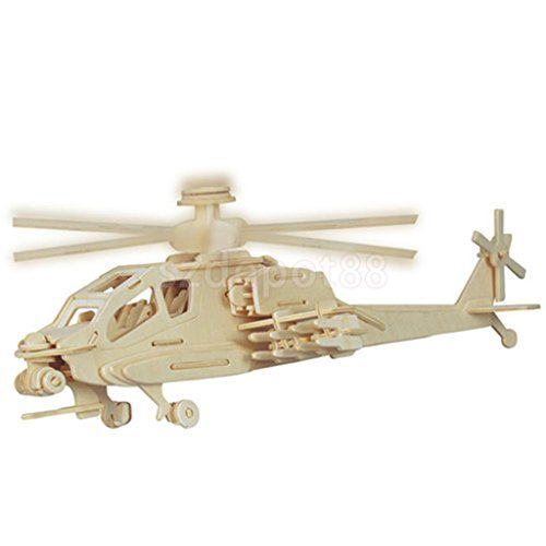 Apache Army Helicopter 3D Wooden Modelling Kit Model Jigsaw Puzzle DIY Toy