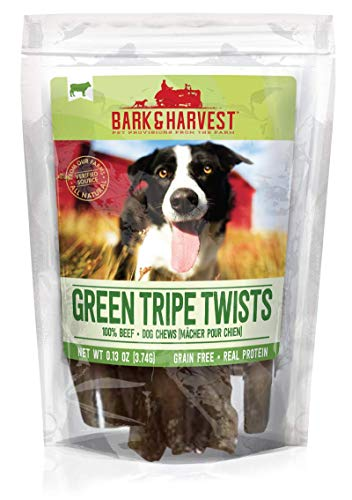Bark & Harvest Green Tripe Twists| All Natural Dog Chews from Our Farms | Real Protein Dog Chews | 100% Beef