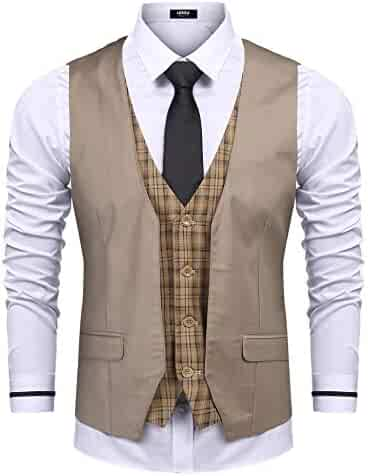 8eaa248dd63 URRU Men s Business Dress Suit Vest Slim Fit Layered Plaid Wedding  Waistcoat Casual Party Tuxedo Jacket