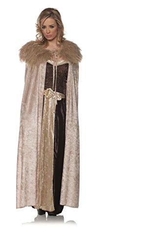 (Underwraps Women's Panne Renaissance Cape with Faux Fur Trim - Beige, One Size )