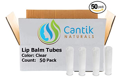 Lip Balm Containers, 50 Clear Chapstick Tubes, BPA Free, Make Your Own Lip Gloss - 0.15oz, Made In the USA ()