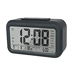 BESTWYA Smart Alarm Clock,Talking Clock with 3 Alarms, Optional Weekday Alarm, Intelligent Noctilucent & Snooze Function, Month Date & Temperature Display (Black S, 3 Alarms)