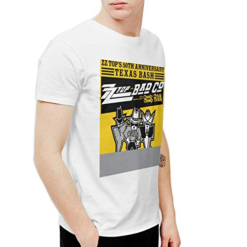 OfcTTHlinW Men's 50 Years Zz Top Anniversary Tour 2019 Classic Outdoor White XL T Shirt Short Sleeve