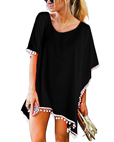 Bikini Trim Black (GDKEY Women's Trim Kaftan Chiffon Swimsuit Bikini Beach Cover up(Black,A))