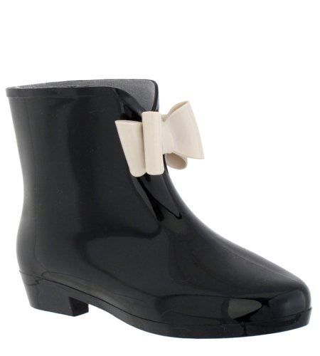 Capelli New York Lucido Solido Opaco Con Fiocco Jelly Bow Mademoiselle Bootie Body Jelly Rain Boot Nero