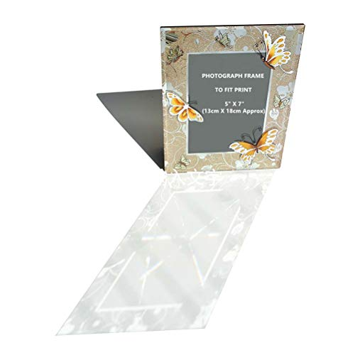 (CN CRAFTS 5 X 7 Keepsake Picture Frame with Gold Glittering and Emboss Butterflies Design, Hand-Polished Beveled Edge, 8 X 10 Inch)