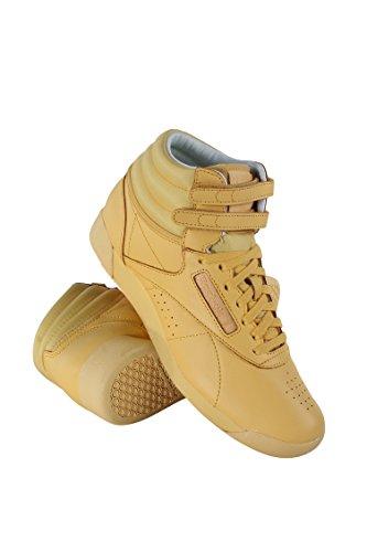 Reebok Women's Classic Freestyle Hi Color Bomb Sneaker, Sunshine Yellow, 6 (Hi Sneaker Freestyle)
