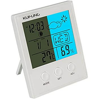 KUFUNG Backlight Hygrometer Thermometer, Digital Humidity Monitor Sensor with large LED display shows temperature,date,weather,Humidity&alarm