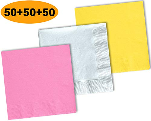 150 Beverage Napkins, Lemon Yellow, Bright White, Candy Pink - 50 Each Color. 2 Ply Paper Cocktail Napkins. 5