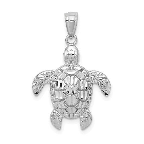 14k White Gold Sea Turtle Pendant Charm Necklace Life Man Fine Jewelry Gift For Dad Mens For Him 14k Gold Sea Turtle Charm