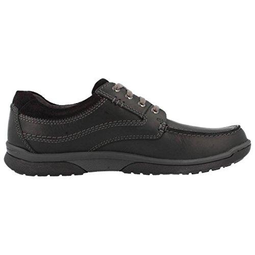 Clarks Casual Hombre Randle Walk Piel Zapatos De Negro negro