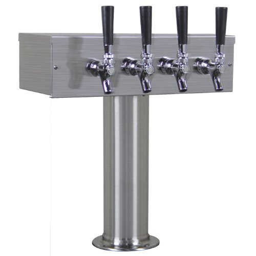 Learn To Brew BF TTOW-4F-BRUSH-2 4 Tap Stainless Steel T Tower Draft Keg Beer (3 Faucet T-tower Beer Tap)