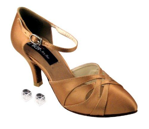 Zapatos De Danza Del Salón De Baile De Las Señoras Muy Finas Ekcd6007m Con Satén Tan De 2.5 Talones