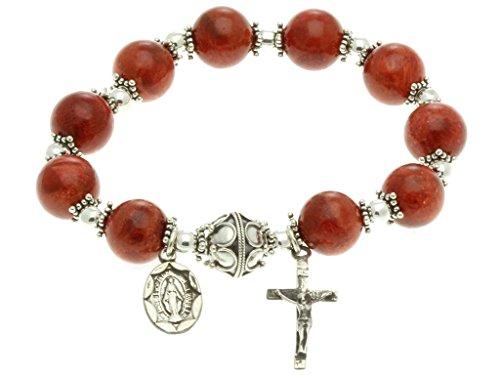 Sterling Silver Rosary, Red Sponge Coral 10mm Elastic Rosary Bracelet