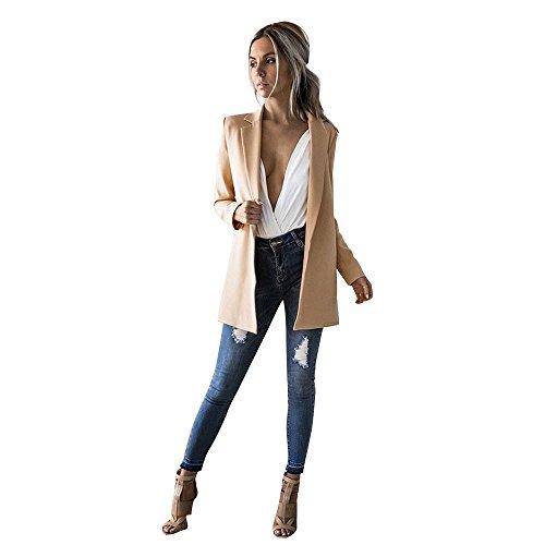 Maniche 42 Cachi Caldo Donna Giacca Cardigan Homebaby A Autunno Invernale Elegante Lunghe 34 Blazer Outwear Trincea Maglione Pullover Vento Felpa Cappotto 47BqHR