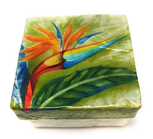 Kubla Craft Bird of Paradise Flower Capiz Shell Keepsake Box, 3 Inches Square