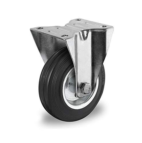 2 ruedas fijas de 200 mm de goma negra con llanta de acero. Juego de 2 ruedas giratorias con tope