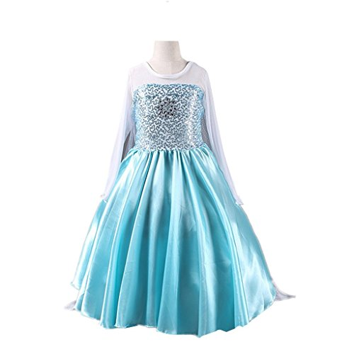 [DreamHigh Little Girl's Snowflack Princess Fancy Dress Costume Size 9-10 Years] (Halloween 10)