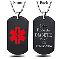 Unisex Stainless Steel Medical Alert ID Dog tag Pendant Men and Women, Free Engraving
