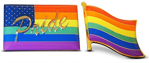 2-Piece Gay Pride American & Waving LGBT Flag Lapel or Hat Pin and Tie Tack Set with Clutch Back by Novel Merk