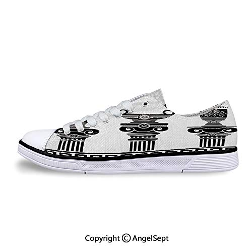 Low Top Rubber Sole Canvas Shoes Vases and Ionic Columns Artistic Sneaker