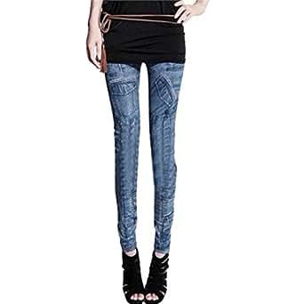 Wensltd Womens Sweet Stretchy Jeans-look Skinny Leggings Slim Pant (Blue)