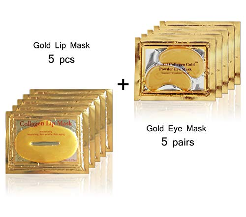24K-Gold-Bio-Collagen-Crystal-Mask-5-Pcs-Eye-Mask-5-Pairs-Lip-Mask-Anti-ageing-Skin-Care