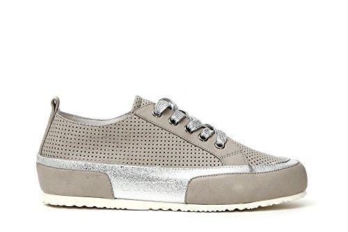 Cafè Noir KDE128 Baskin Sneakers in MICROPHORED Leather 016 Grigio iiMqGdkV