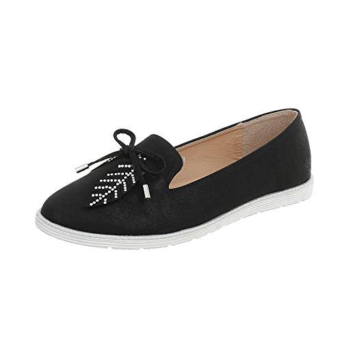 Ital-Design Slipper Damen-Schuhe Halbschuhe Schwarz, Gr 41, N-58-