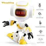 king robot - Threeking DIY Robot Toys Touch Sensing Cute Robot for Kids Smart Mini Alloy Robot With Charming LED Eye & Cute Robot Voice Kid's Companion Great Gift for Boys Girls(R9-Yellow)